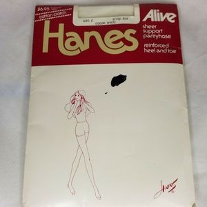 Hanes Alive Size C White Support Stockings Hosiery